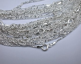 16 inch Sterling Silver Facet Ball Chains 10 pcs 1.2mm