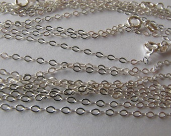12 Sterling Silver 16 1/2 inch Flat Cable Link Chains 2mm Highest Quality