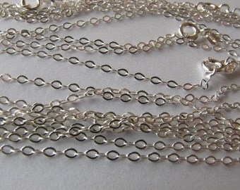 15 pcs Sterling Silver 2 X 1.5mm Cable Chains 16 1/2 inch ready for pendants