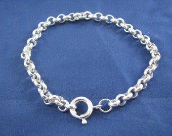 Sterling Silver 6mm Rolo Chain Charm Bracelet