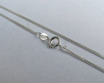 14 inch Sterling Silver Curb Chain Fine Necklace with Spring Clasp, Child Size
