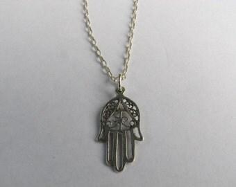 Sterling Silver Filigree Hamsa Hand Pendant Necklace