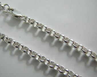 4mm Rolo Chain Necklace 26 inch Sterling Silver with Lobster Clasp