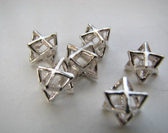 Tiny Little Merkaba Charms 6 pieces Sterling Silver