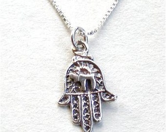 Hamsa Hand Charm with Chai Symbol and Sterling Silver Chain
