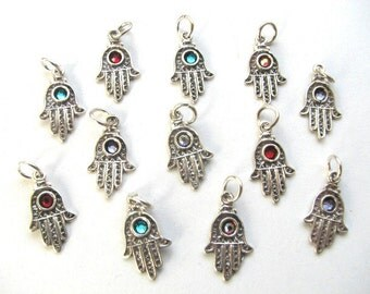 10 pieces Sterling Silver Hamsa Hand Charms with Crystal Beads