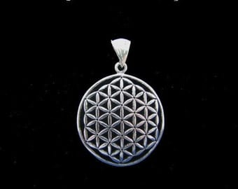 Original Large Flower of Life Pendant 925 Sterling Silver, Fleur de Vie, Flower of Life Charm, Sacred Geometry Jewelry