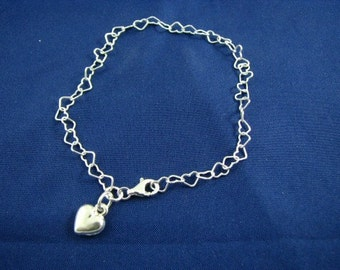 Sterling Silver Heart Links with Heart Charm Bracelet