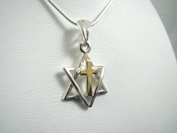 Messianic Star of David with Cross Necklace, 14K Gold and Sterling Silver
