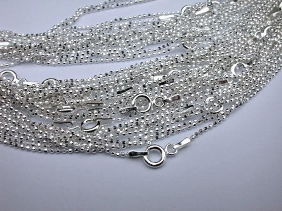 12 Sterling Silver 16 inch Ball Chains 1mm Facet Beads Fine and Dainty with Spring Clasps