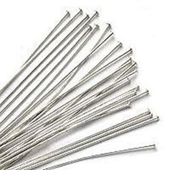 100 pieces Sterling Silver Headpins with Ball 24ga 1inch (0.5mm 25mm)
