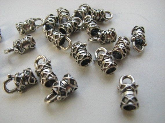 8 Sterling Silver Large Crimp End Caps 4mm silver chains and leather cords