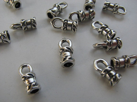 10 Sterling Silver 3mm Large Crimp End Caps for silver chains and leather cords