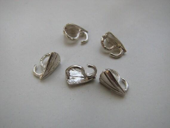 5 pcs sterling silver triangle shape secure pendant bails 9mm