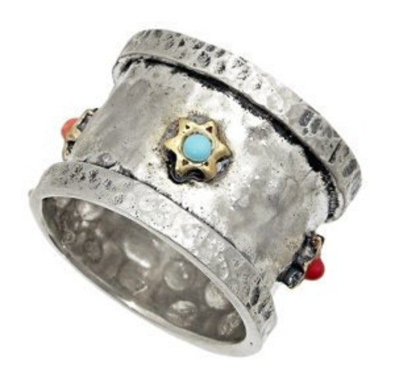 Multi Gemstone Star of David Ring Hammered Sterling Silver with 14K Gold
