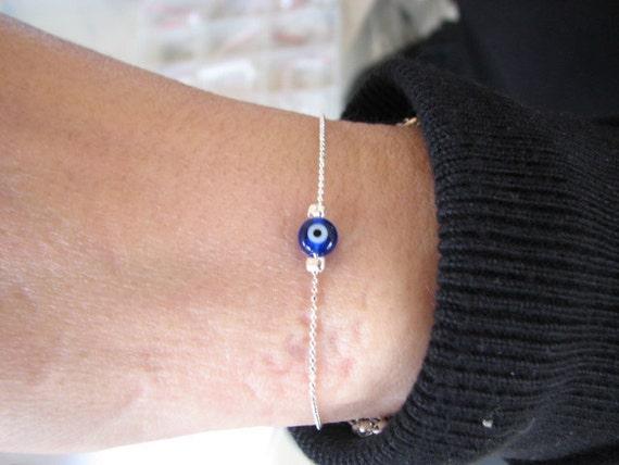 Authentic Evil Eye Charm Bracelet Sterling Silver Cobalt Blue Bead