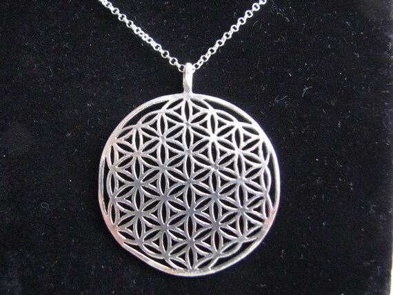 Large Flower of Life Pendant Necklace, Sterling Silver, 30 inch Rolo Chain