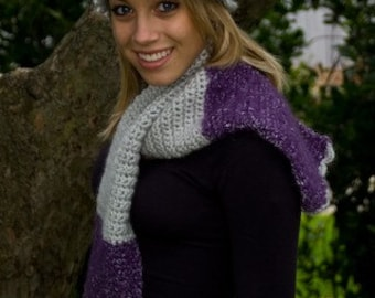Mohair Scarf and Hat Set, Purple and Gray