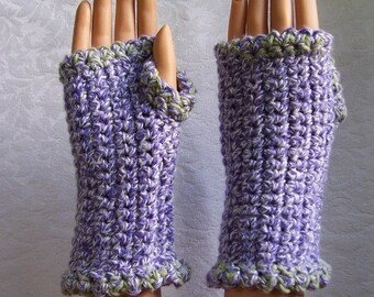 Wrist Warmers, Chunky and Cottony Soft, Chartreuse, Purple, Winter White