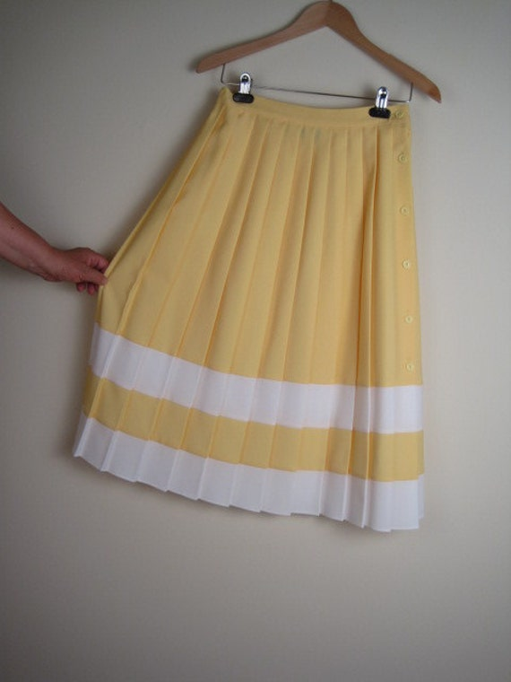 vintage 60s Full Pleated Yellow Preppy Skirt SZ 11-12