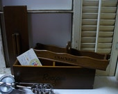 Retro Kitchen - Wooden Double Recipe Box and Wooden Cracker Server