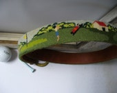 Vintage 80s Woman's Needlepoint Belt with Golf Scene Size Small