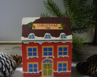 Vintage Wooden Christmas House Music Box Playing White Christmas