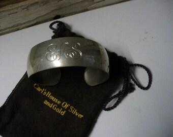 Vintage Monogrammed Kirk Pewter Cuff Bracelet