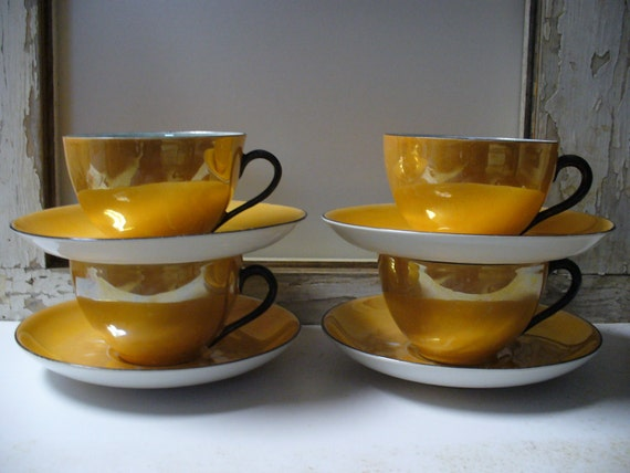 Vintage Set of 4 Lusterware Cups and Saucers