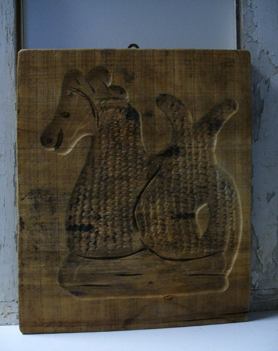 Antique Wood Carved Board - Speculaas Mold