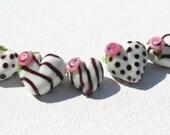 Handmade Lampwork Beads- Hearts -0016  DaNe Glass