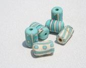 Handmade Lampwork Beads-Turquoise & Ivory tubes -DaNe Glass -061
