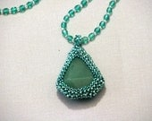 Reserved for Tokyo51 - Green Beadwoven Pendant Necklace