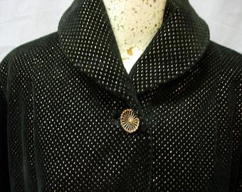 50's black velveteen and gold evening coat.