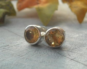 Citrine earrings - Stud earrings - November birthstone earrings - Everyday Sterling silver handmade stud earrings