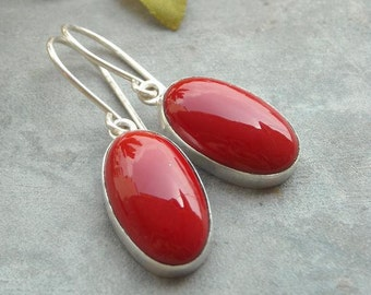 Red Coral earrings - Sterling silver gemstone earrings - Bezel earrings - Red earrings - Oval earrings - Jewelry gift ideas