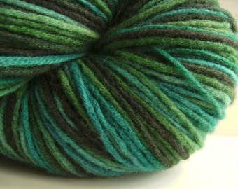 Hand dyed lambswool yarn multicolored variegated green blue aqua black - 420 yards - Earth and Sky