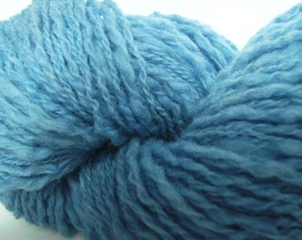 Wool recycled upcycled thrifted reclaimed sky blue thick and thin two-ply yarn - 200 yards - Summer Sky