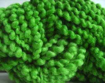 Hand dyed yarn thick and thin yarn coil spun yarn bulky yarn wool yarn bright green - 42 yards - Green Banana