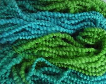 Hand dyed yarn hand painted yarn thick and thin yarn coil spun yarn bulky yarn wool yarn aqua teal green - 42 yards - Ocean