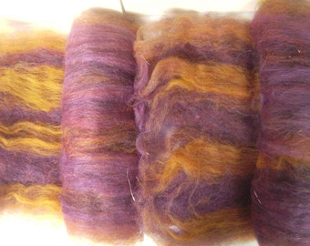 Smooth carded spinning felting fiber Corriedale Merino metallic thread luxury fiber mixed fiber purple gold - 2.10 ounces - Royal