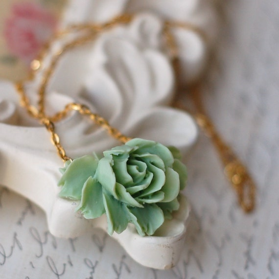 Amazing Grace III... ((green rose pendant necklace))