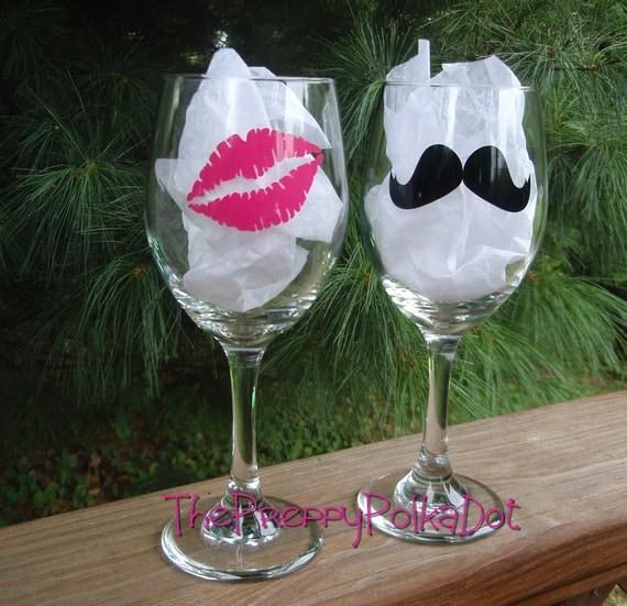 Mustache & Kiss Wine Glass Set