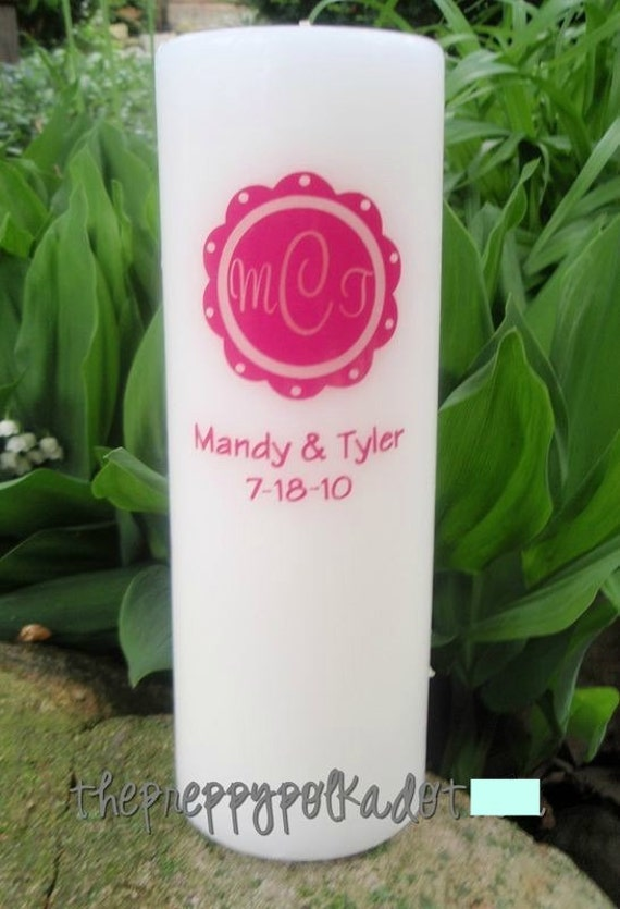 Monogram Scalloped Circle Unity Candle Wedding
