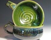 Cappuccino mug stoneware handmade hughes pottery in stock clay gray green moss