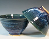 Bowl ceramic rice stir fry stoneware asian cuisine, glazed in grape purple and sapphire blue, handmade by hughes pottery