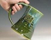 Irish coffee mug, beer tankard stein, celtic knotwork, glazed in green moss, handmade by hughes pottery