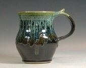Coffee mug ceramic, handmade pottery, tea cup, glazed in metallic gray green, stoneware by hughes pottery hand made