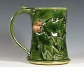 Beer tankard stein, coffee mug tea cup, oak leaf acorn, glazed in green, handmade by hughes pottery