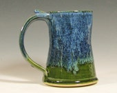 Coffee mug ceramic, beer tankard cup, handmade stein, glazed in green blue, stoneware by hughes pottery